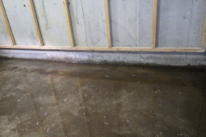 施工前の状態。床に水が溜まっています。